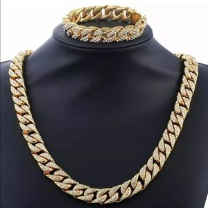 Other - gold silver chain cuban link necklace & bracelet